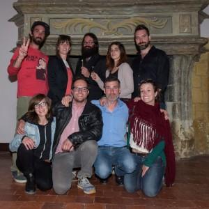 Les membres du centre d'art actuel Bang avec Christophe de Goulaine et Léa Cotart-Blanco, de la galerie RDV.